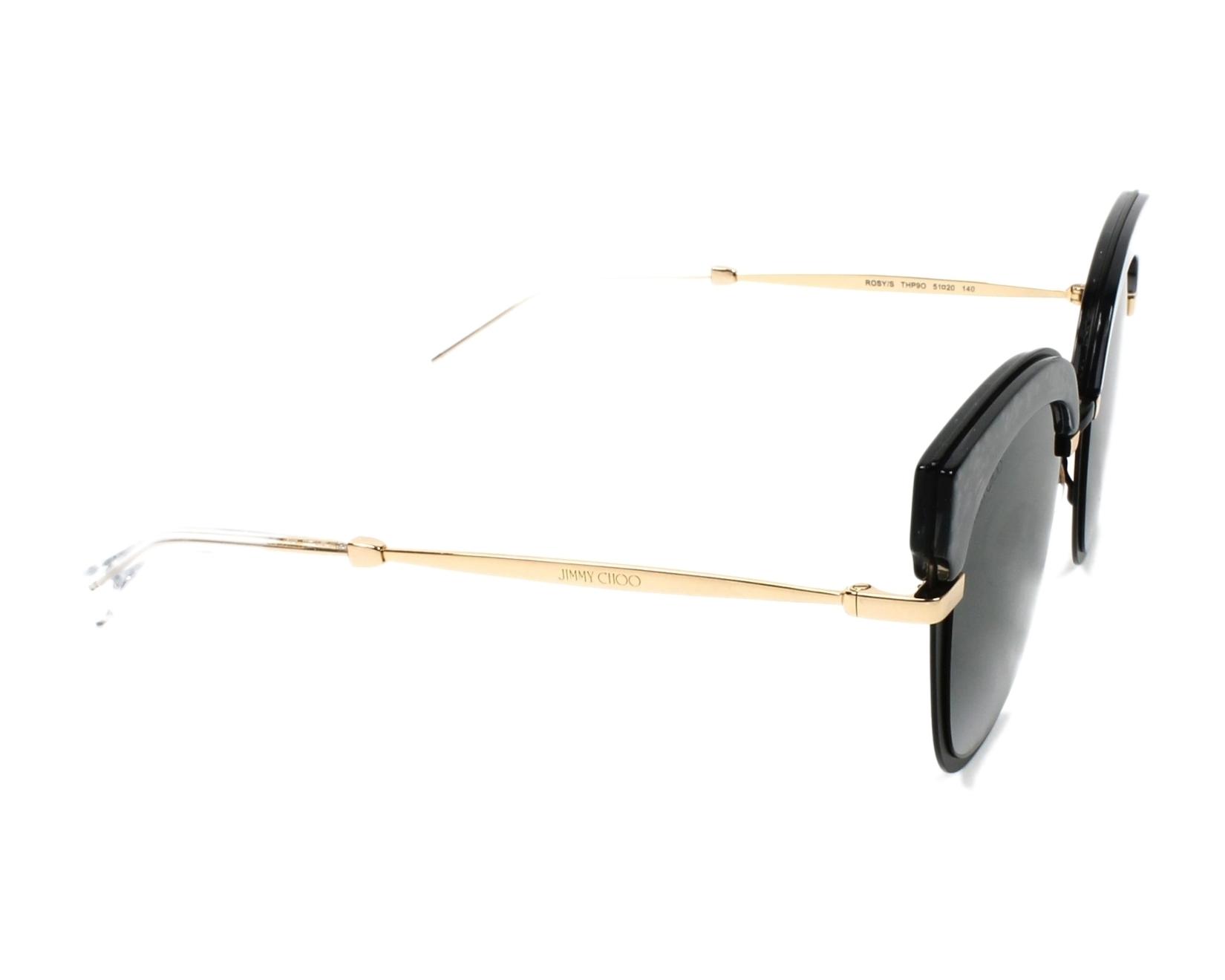 ce5378d6e0e75 Sunglasses Jimmy Choo ROSY-S THP 90 51-20 Black Gold side view