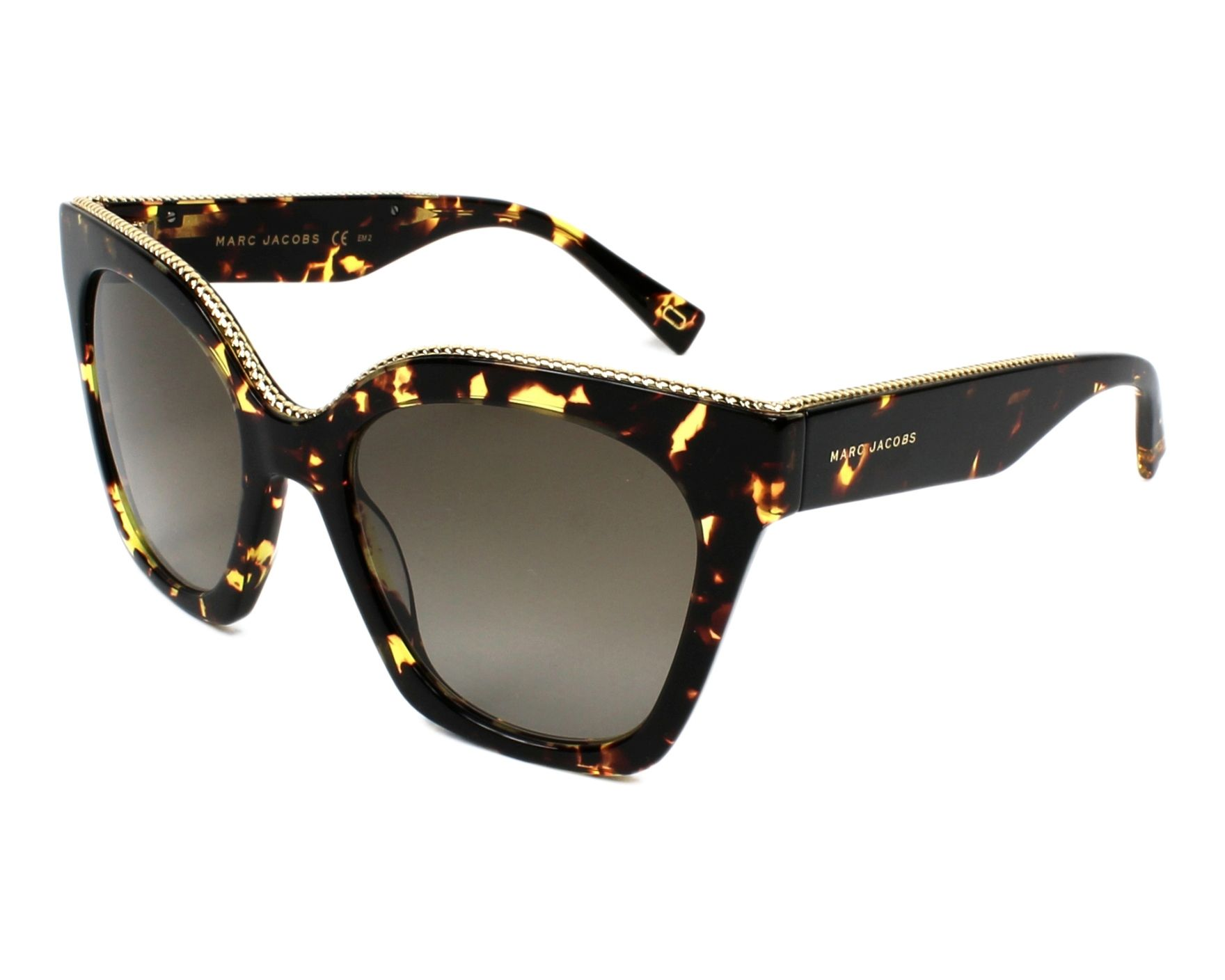 7f80e275bc6b4 Sunglasses Marc Jacobs MARC-162-S 086 HA 52-19 Havana Gold