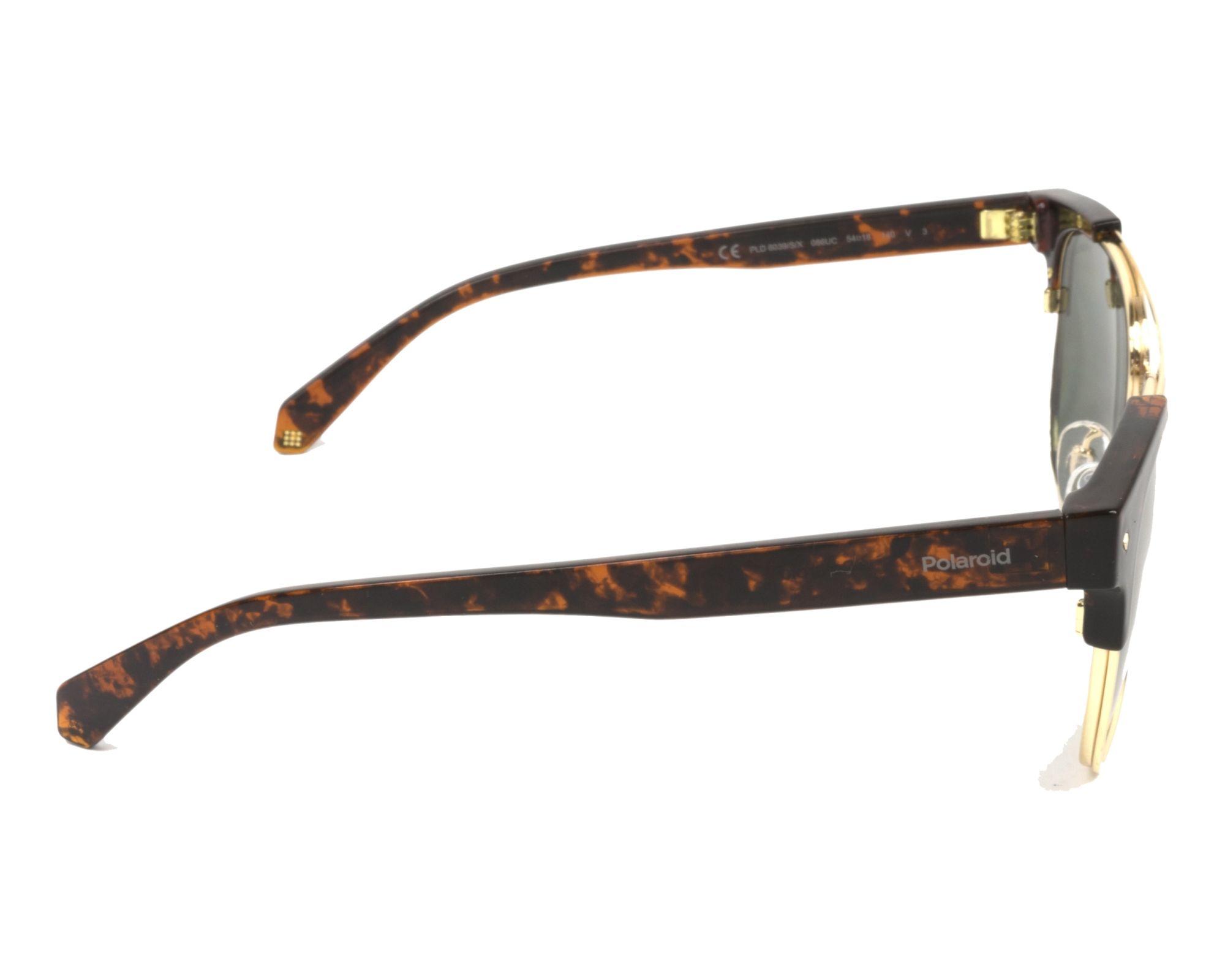 Sunglasses Polaroid PLD-6039-S-X 086 UC 54-18 Havana Gold side c51f4e0d3f