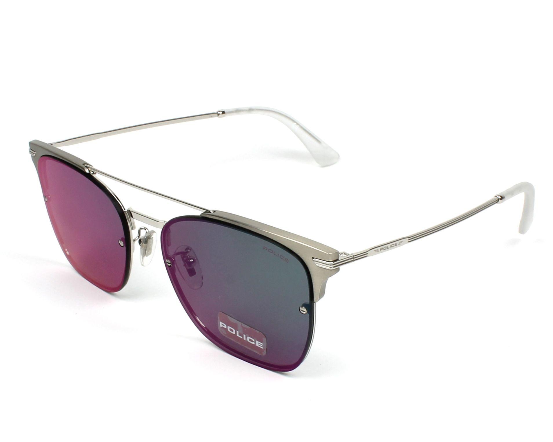 441bda17823 Sunglasses Police SPL-577 579V 56-17 Silver Gun profile view