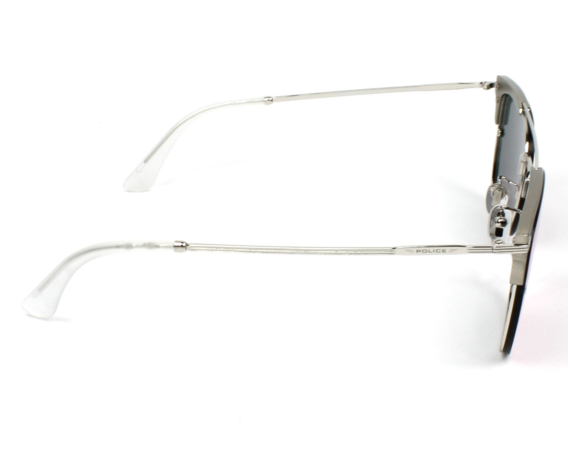 8f0a317c91d Sunglasses Police SPL-577 579V 56-17 Silver Gun side view