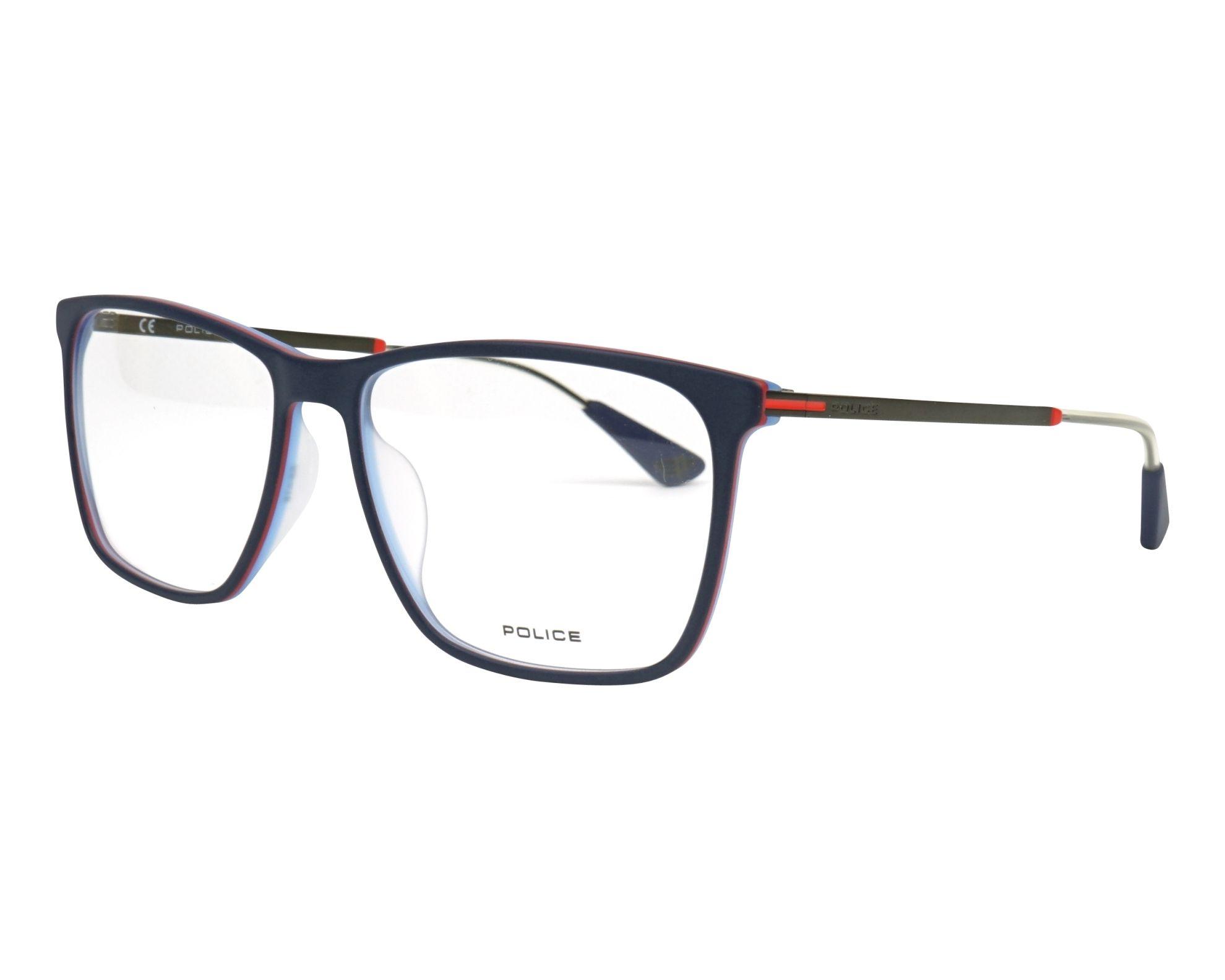 eyeglasses Police VPL-689 1BTM 55-16 Blue Green profile view