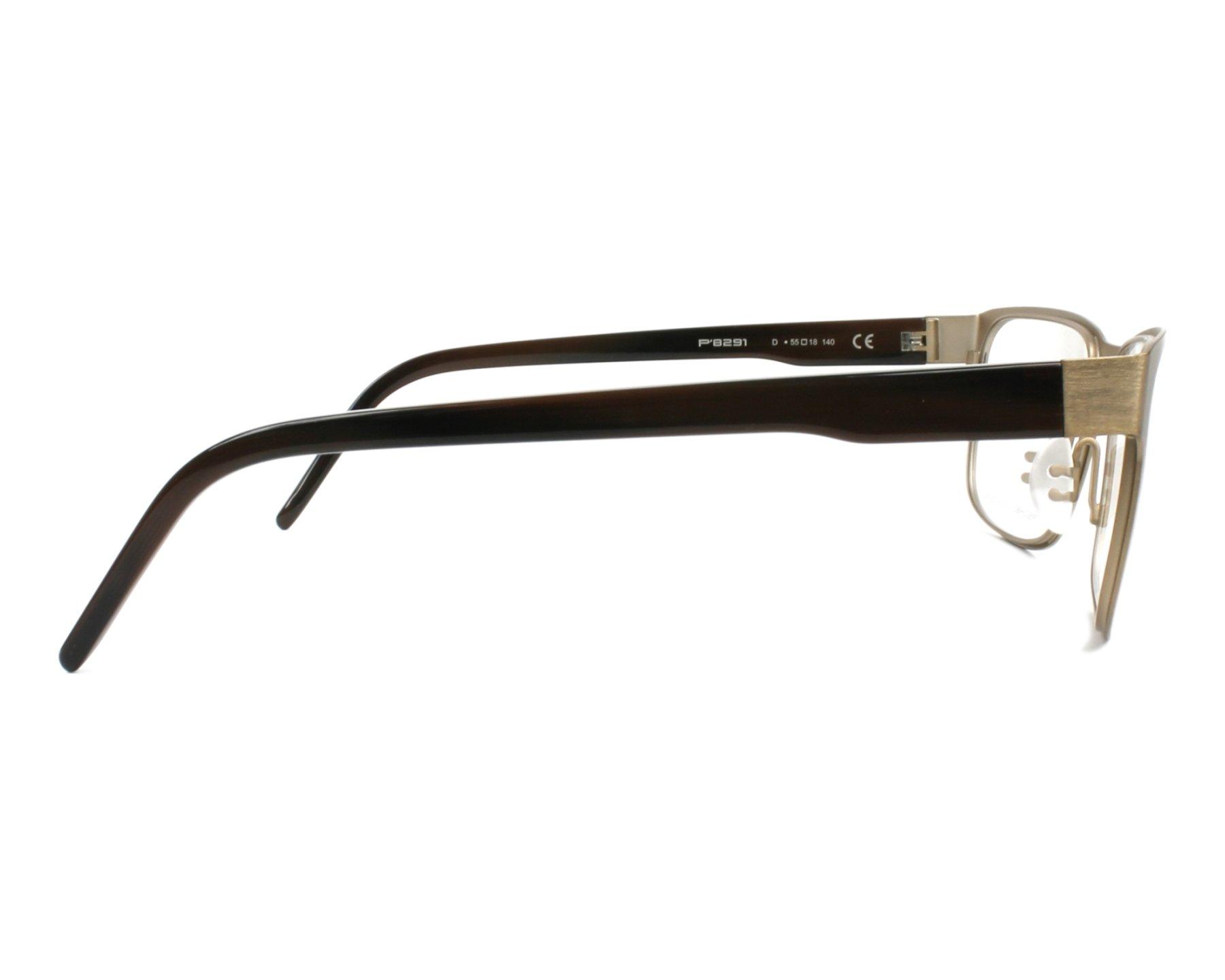 2add524286b eyeglasses Porsche Design P-8291 D 55-18 Gold Brown side view