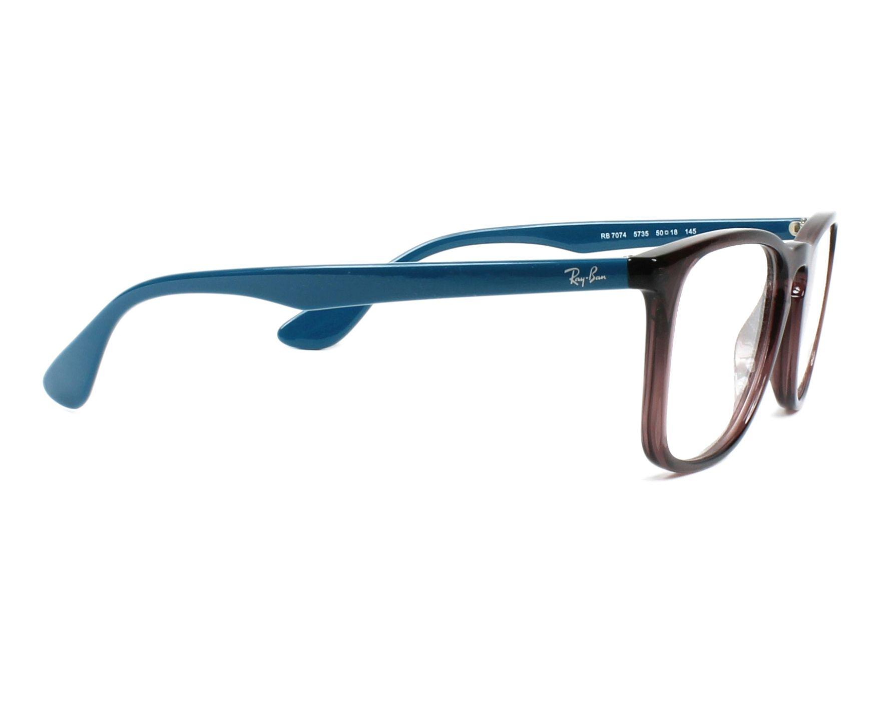 36e4b0e592f eyeglasses Ray-Ban RX-7074 5735 50-18 Purple Turquoise side view