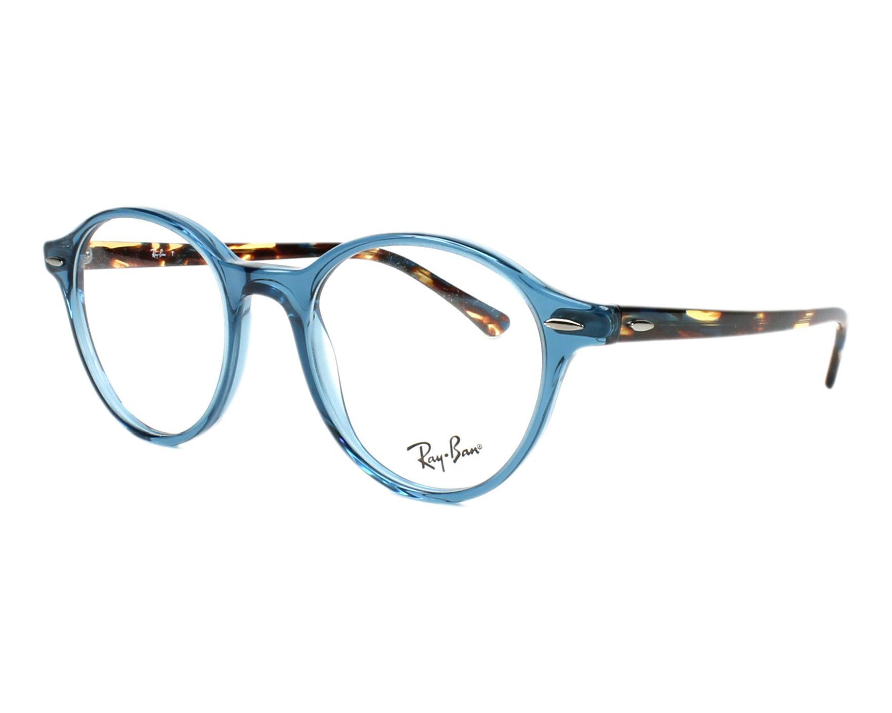 b7fde13dd9e eyeglasses Ray-Ban RX-7118 8022 48-19 Blue Havana profile view