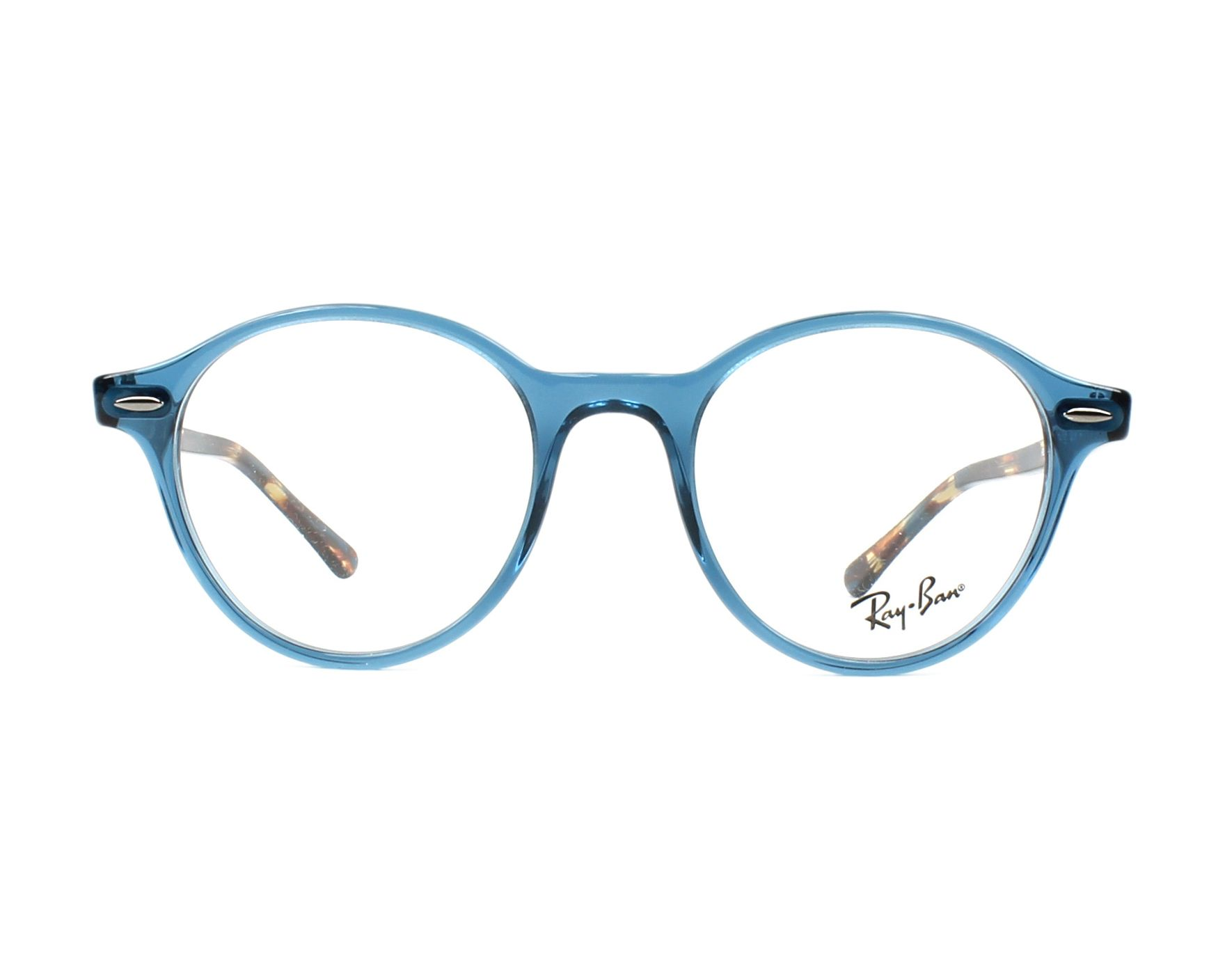 91a4055352a eyeglasses Ray-Ban RX-7118 8022 48-19 Blue Havana front view
