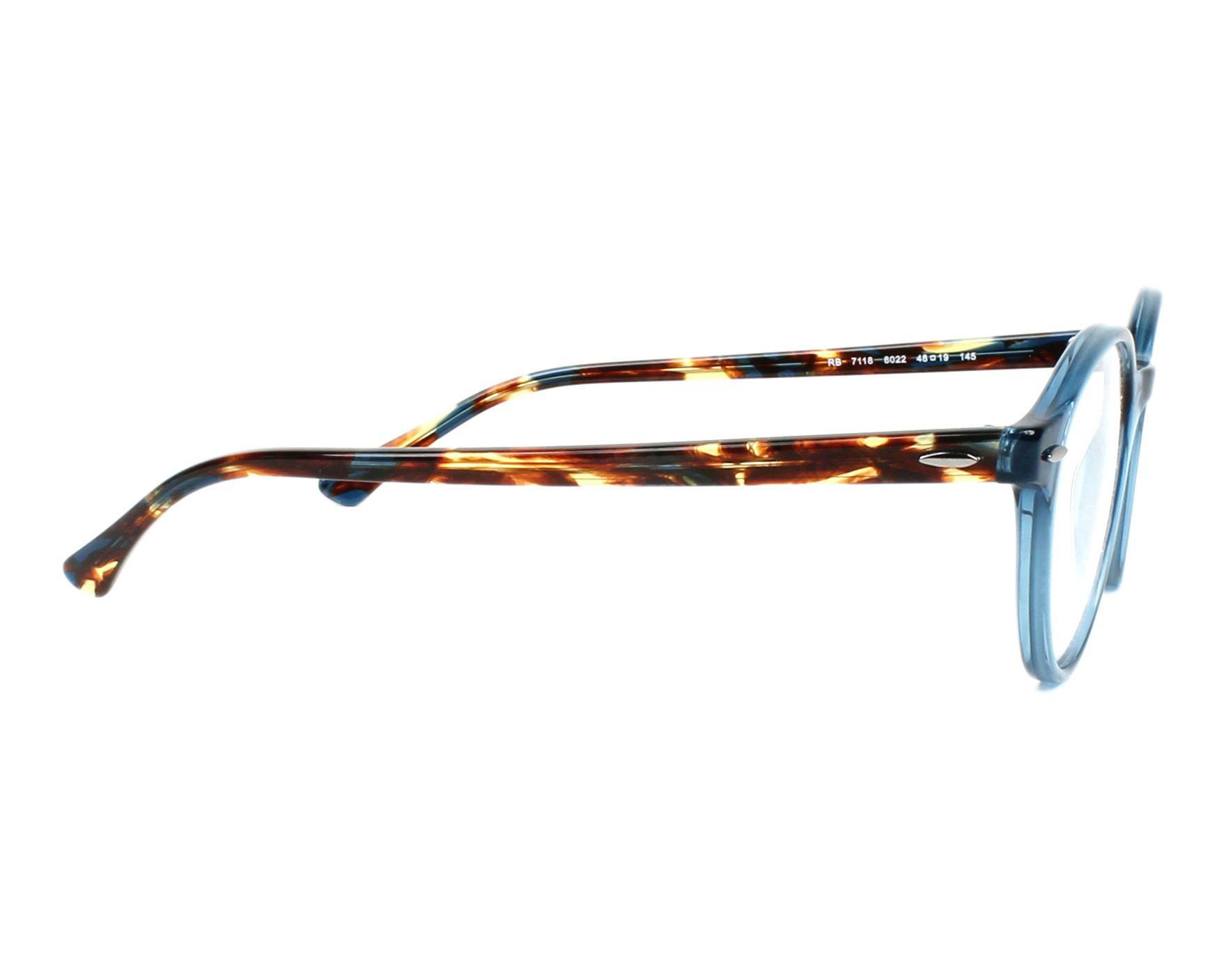 ca0fd917abf eyeglasses Ray-Ban RX-7118 8022 48-19 Blue Havana side view