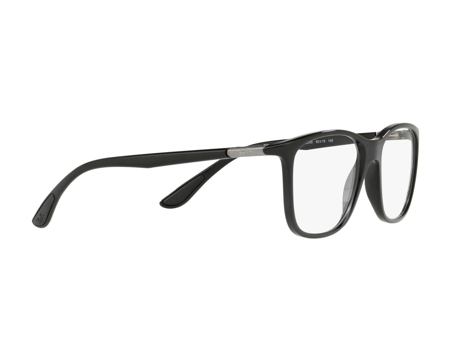 74fe212763 eyeglasses Ray-Ban RX-7143 200 53-18 Black 360 degree view 11