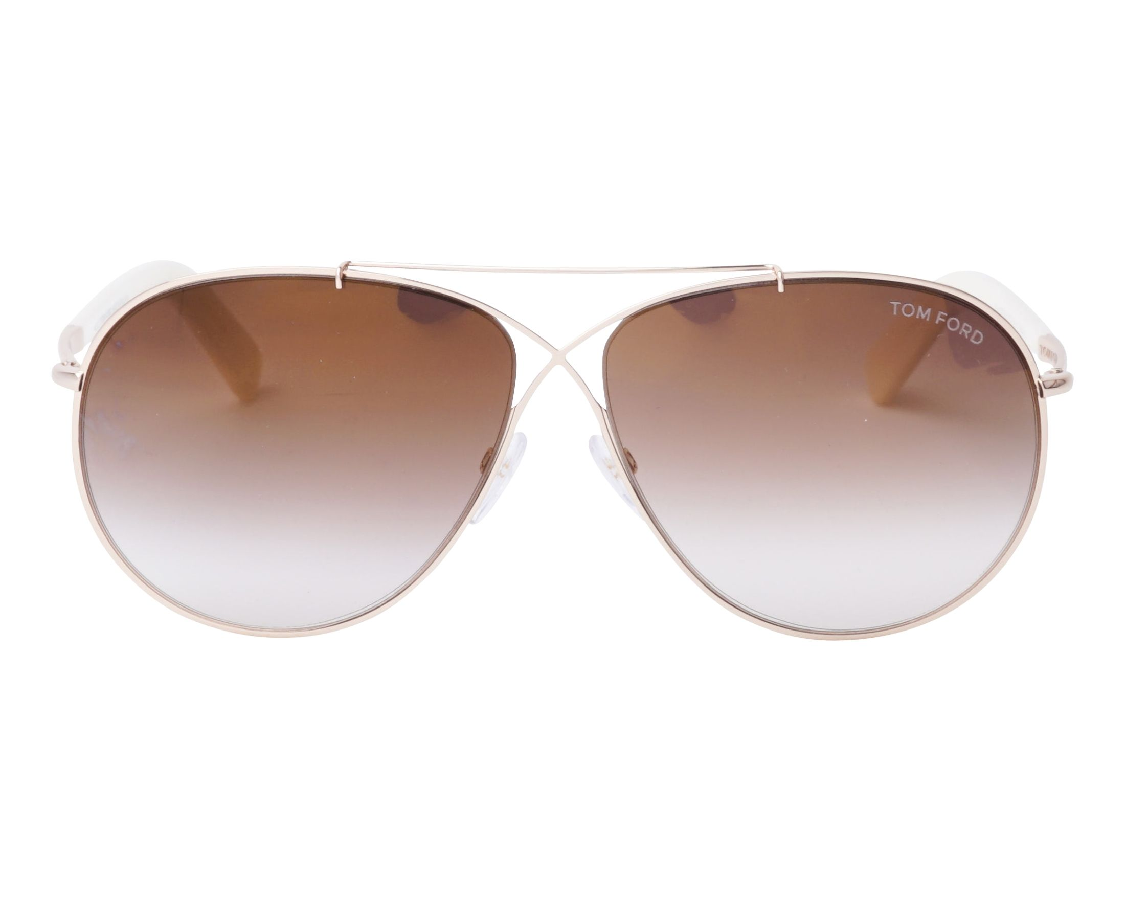 23b67e612fd0 Sunglasses Tom Ford FT-374 28G 61-10 Gold Opal front view
