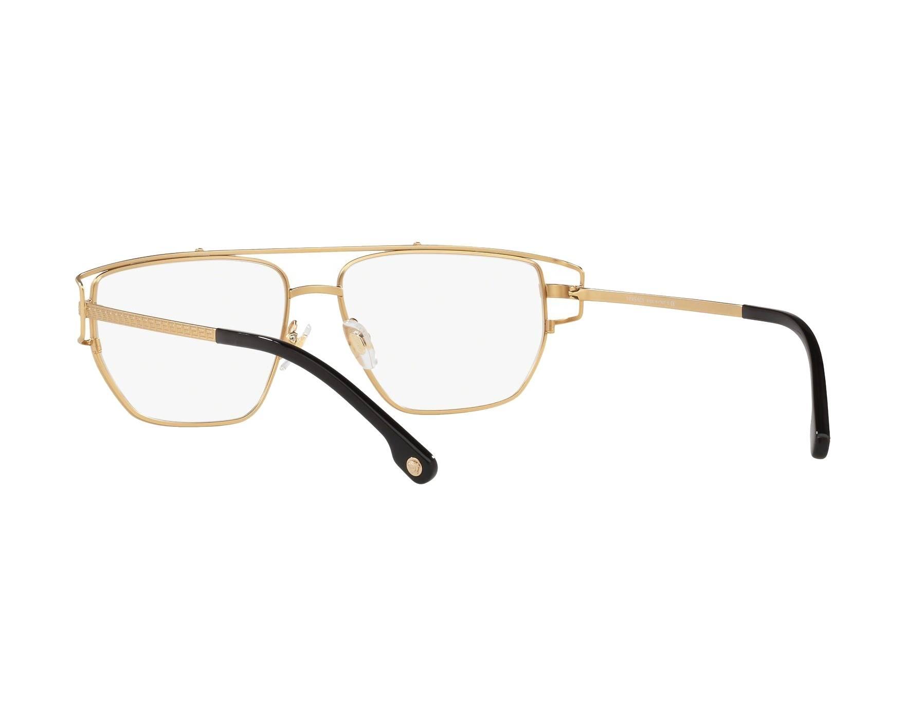 f147f7637ee eyeglasses Versace VE-1257 1410 55-15 Gold 360 degree view 6