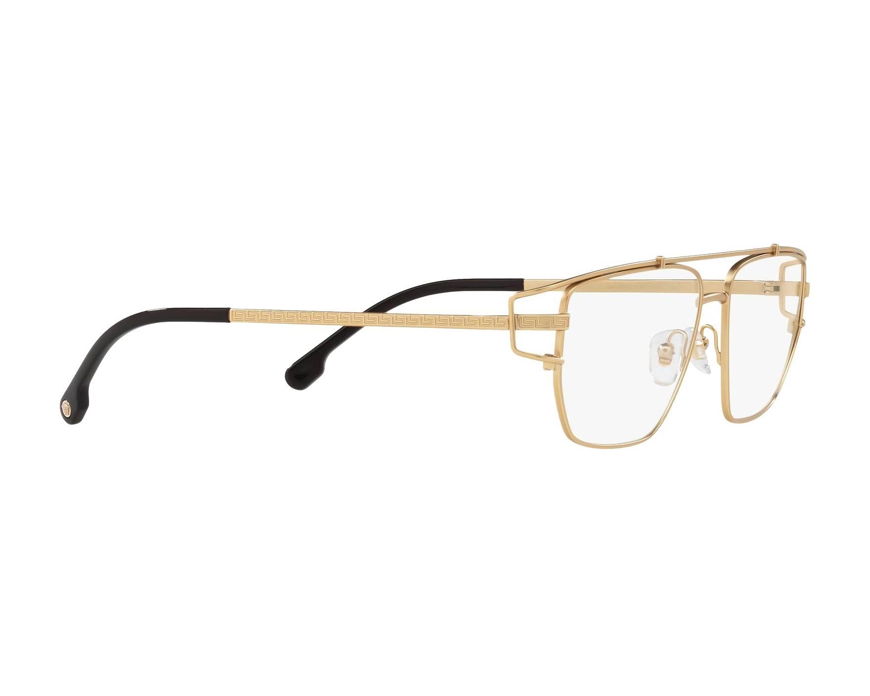 4008d40df2d eyeglasses Versace VE-1257 1410 55-15 Gold 360 degree view 11