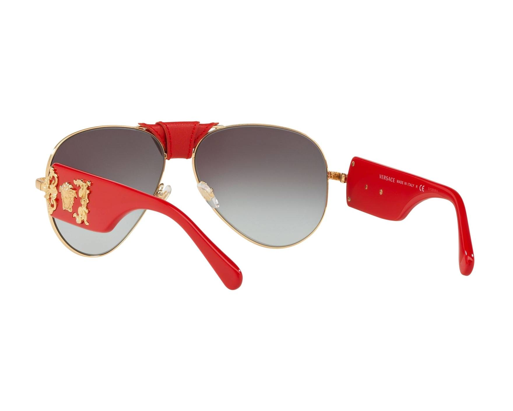fae760e172 Sunglasses Versace VE-2150-Q 100211 62-14 Gold Red 360 degree view