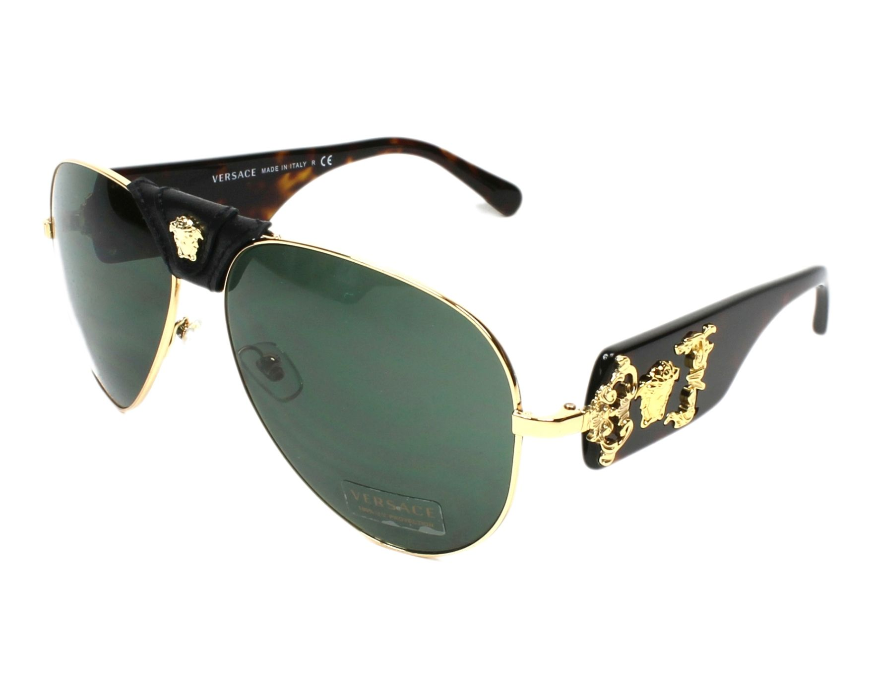Versace Sunglasses Gold with Grey green Lenses VE-2150-Q 1002/71 ...