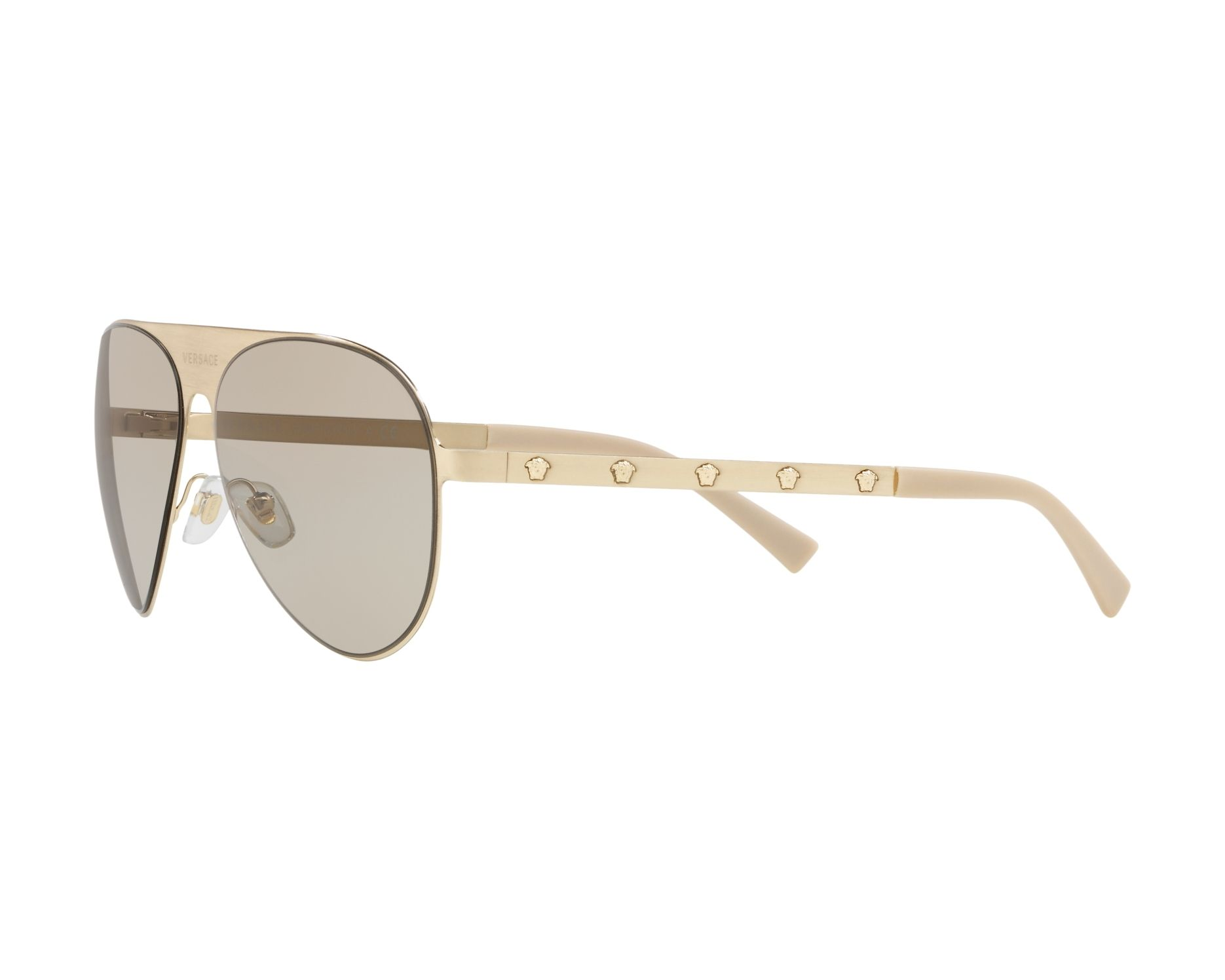 18027e89dbd9 Sunglasses Versace VE-2189 1339 3 59-14 Gold 360 degree view 3