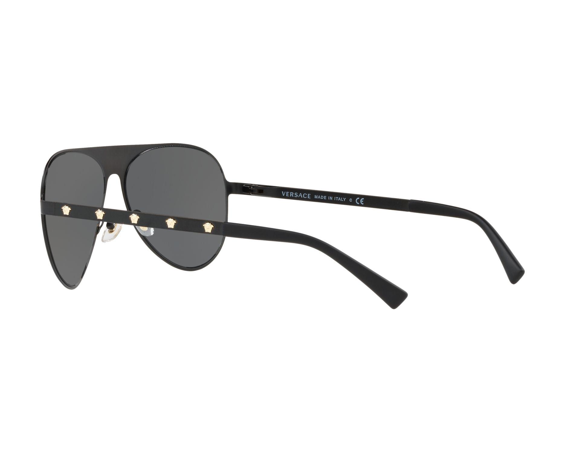 da2c6eda3e5 Sunglasses Versace VE-2189 142587 59-14 Black Gold 360 degree view 5