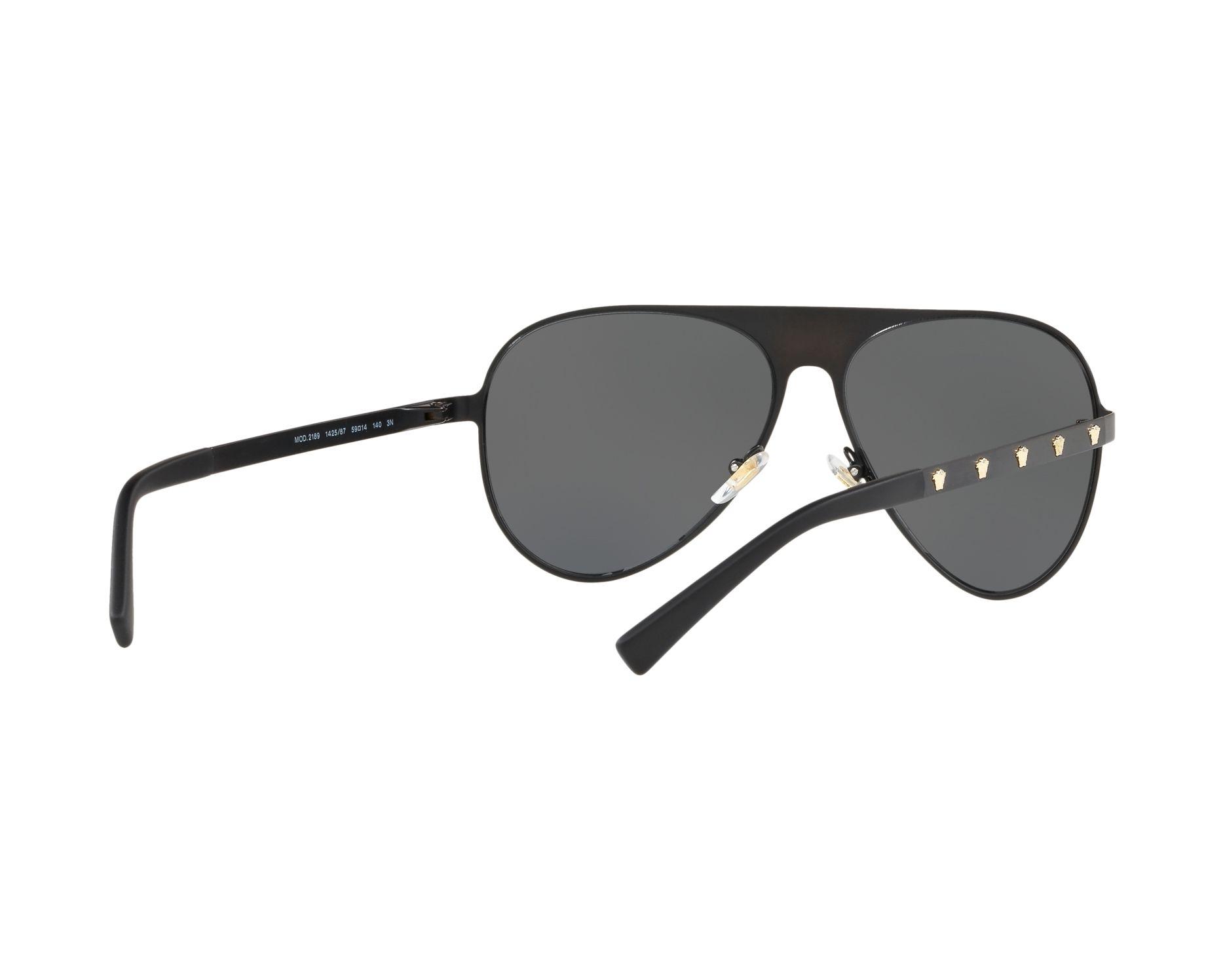 8ca9f26d5c0 Sunglasses Versace VE-2189 142587 59-14 Black Gold 360 degree view 8