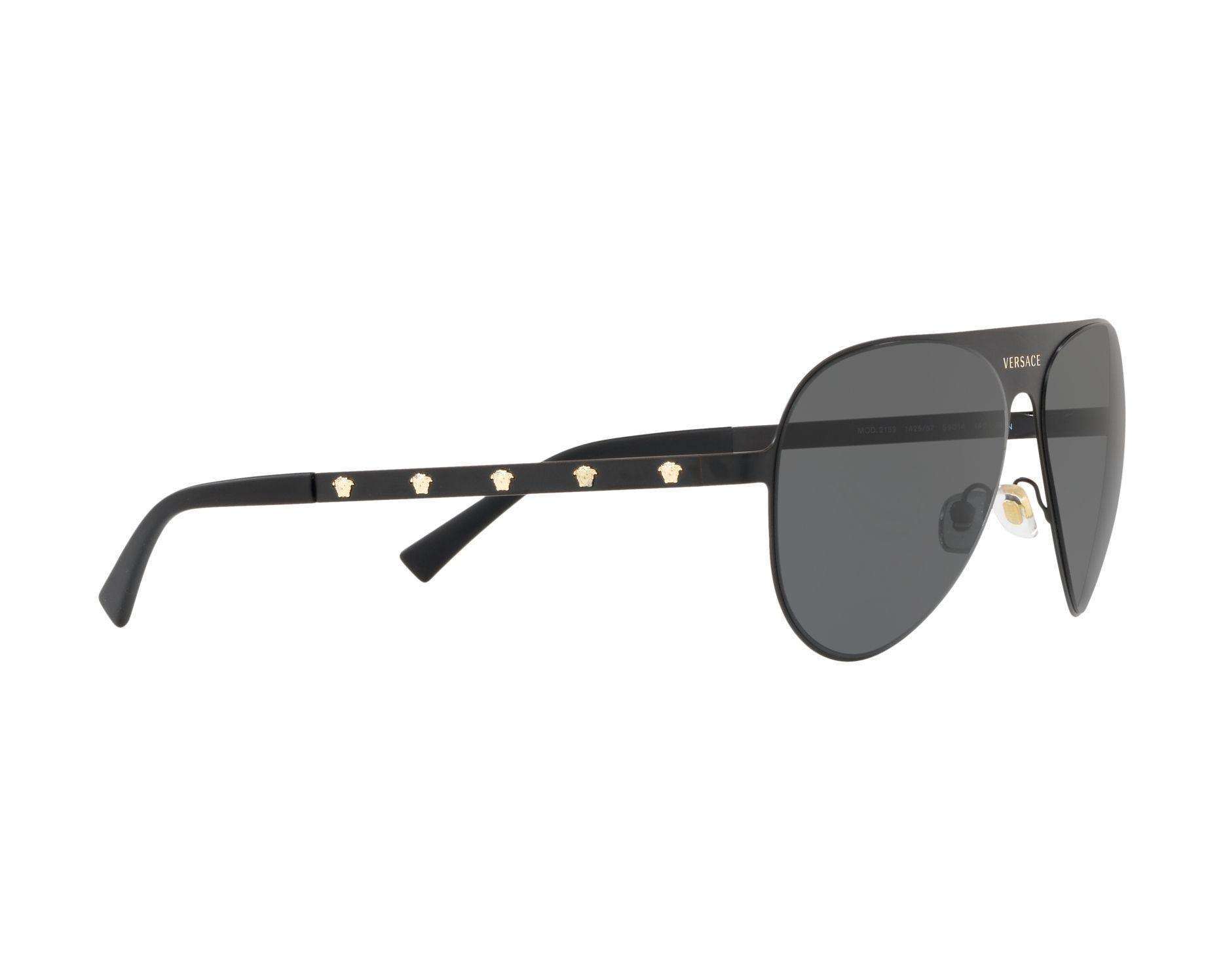 e761a5c8c6a Sunglasses Versace VE-2189 142587 59-14 Black Gold 360 degree view 11