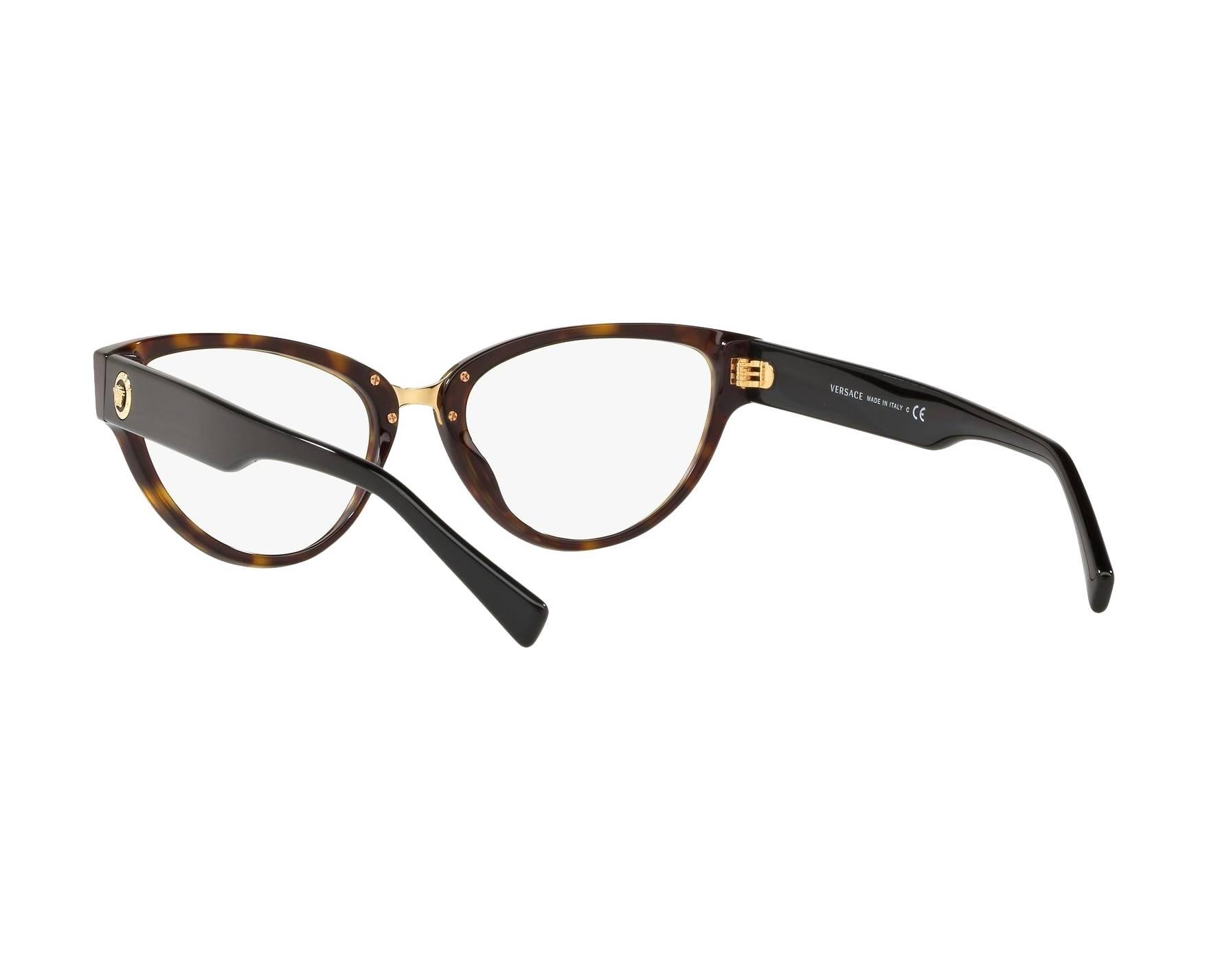 a55d83dcf87 eyeglasses Versace VE-3267 108 53-17 Havana Black 360 degree view 6