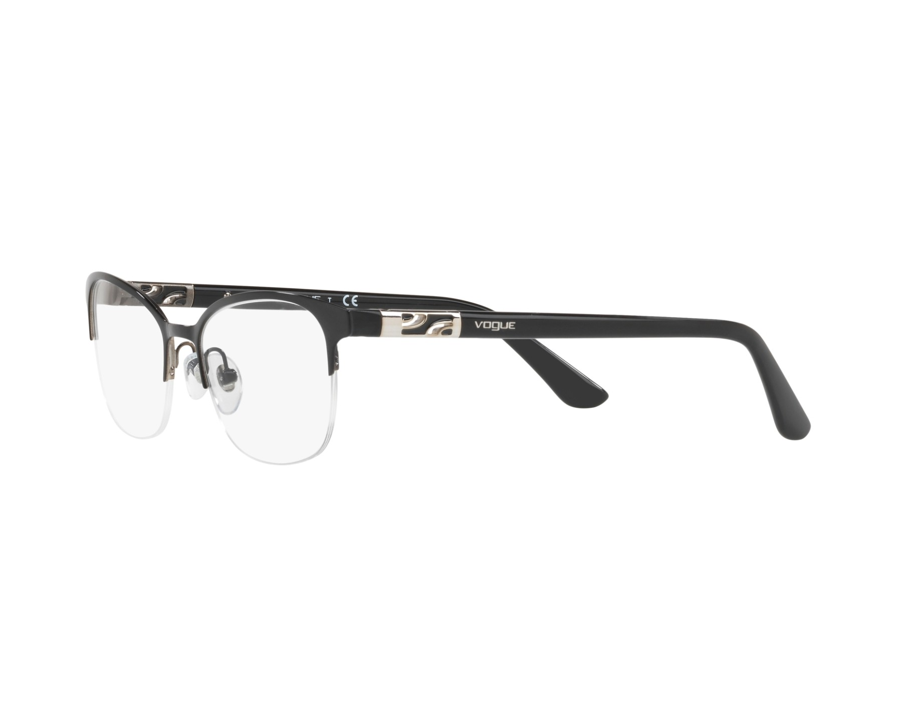 856ee6c90f eyeglasses Vogue VO-4067 352 - Black Silver 360 degree view 3