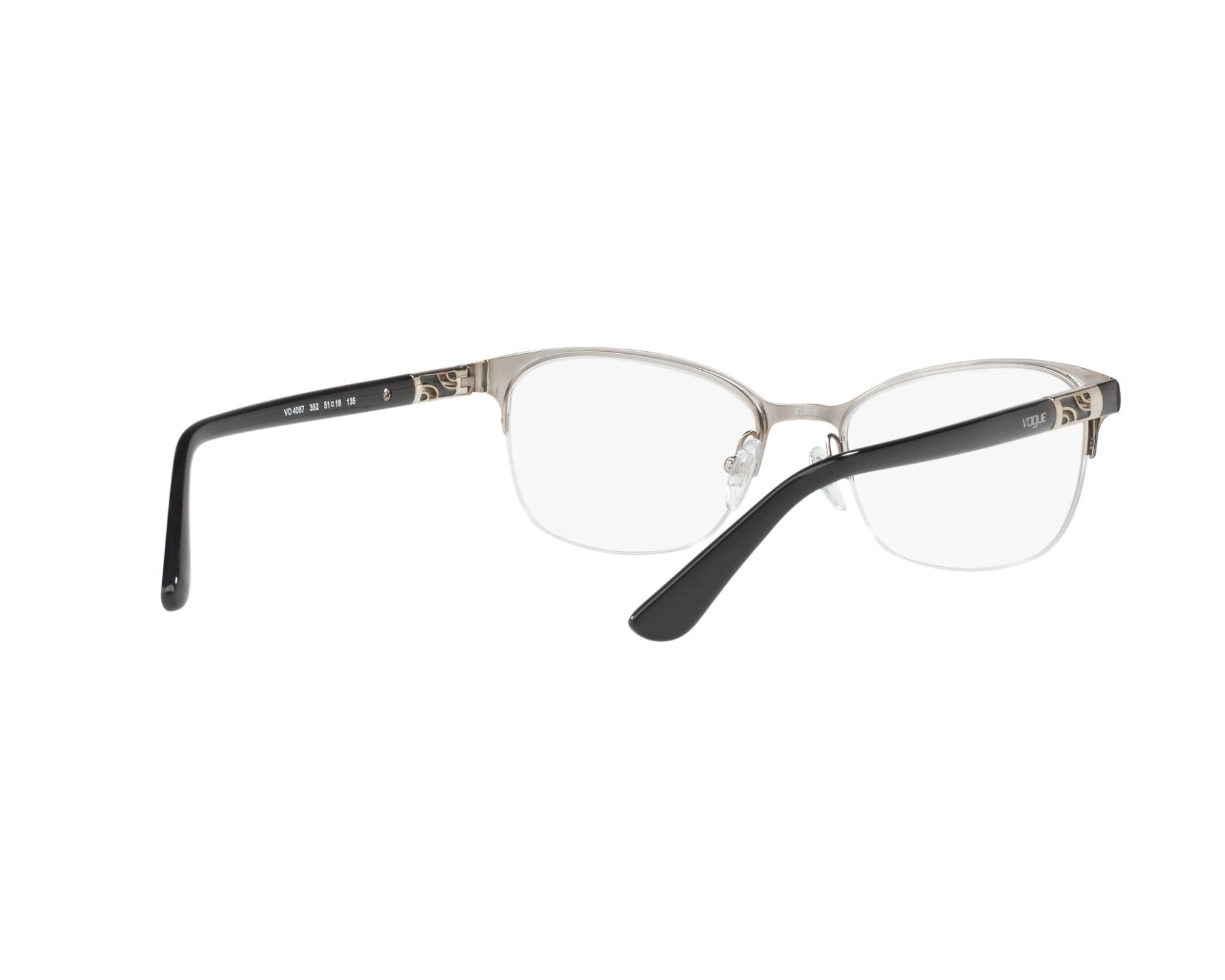 4f36443150 eyeglasses Vogue VO-4067 352 - Black Silver 360 degree view 8