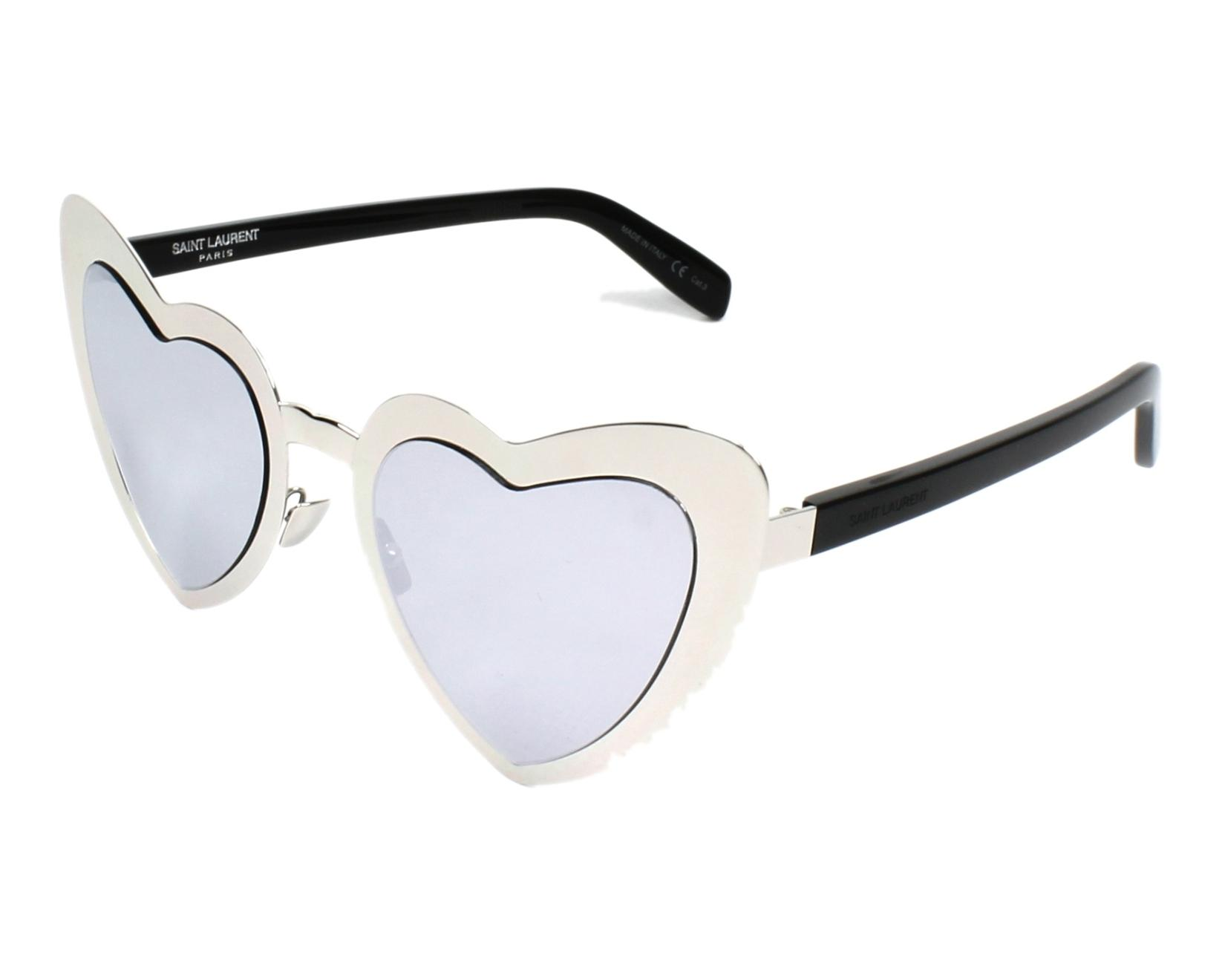6067158407 Sunglasses Yves Saint Laurent SL-196 001 55-23 Silver Black profile view
