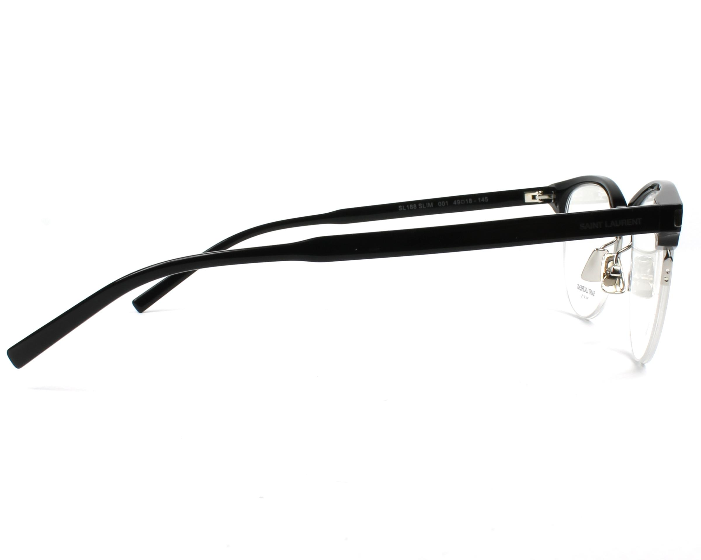 53941aa0eb6 eyeglasses Yves Saint Laurent SL-188-SLIM 001 49-18 Black Silver side